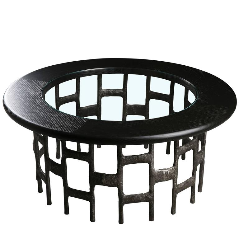 French Industrial Coffee Table: French Industrial Burnt Cast Aluminium, Wood, Glass Round