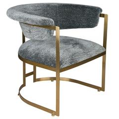 French Modern Brass, Stainless Steel and Grey Lounge Armchair