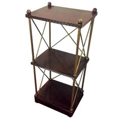 Regency Style Brass and Wooden Stands, Étagères or Book Shelves