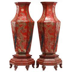 Large Pair of Chinese Red Lacquer Imperial Vases with Painted Dragon on Stands