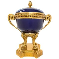 Cobalt Blue Sevres Bronze-Mounted Porcelain Cachepot Centerpiece and Cover
