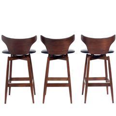 Set of Three Curvaceous Walnut Modern Bar Stools