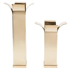 Pair of Mid-Century Modernist Polished Brass Candlesticks with Curved Detailing