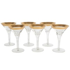 Rare Set of Eight Gold Rimmed Handblown Martini Glasses by Dorothy Thorpe
