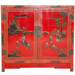 Vintage Asian Red Lacquered Cabinet