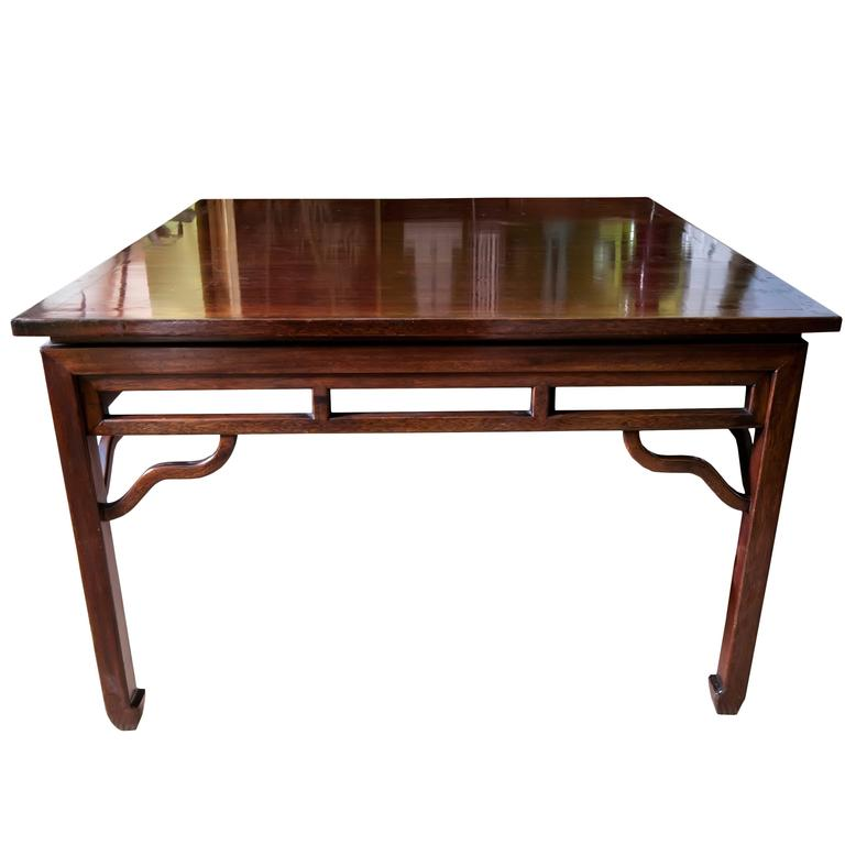 Large Rosewood Vintage Asian Square Center Table For Sale