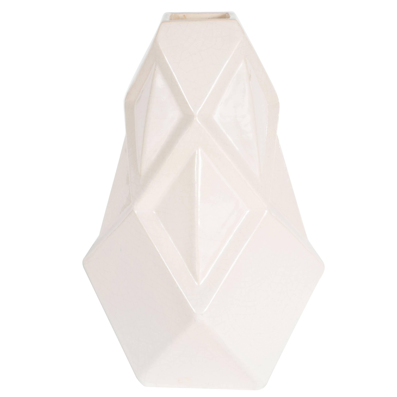 Art Deco Cubist Style Crackle Crème Ceramic Vase by Henri Delcourt Boulogne