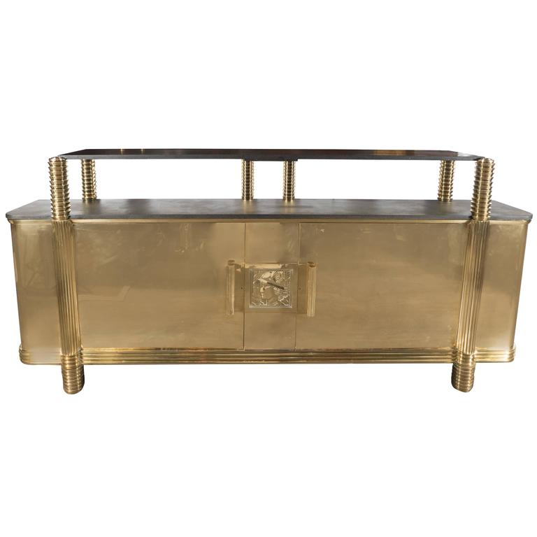Art Deco Sideboard or Cabinet in Brass from the Estate of Andy Warhol 1