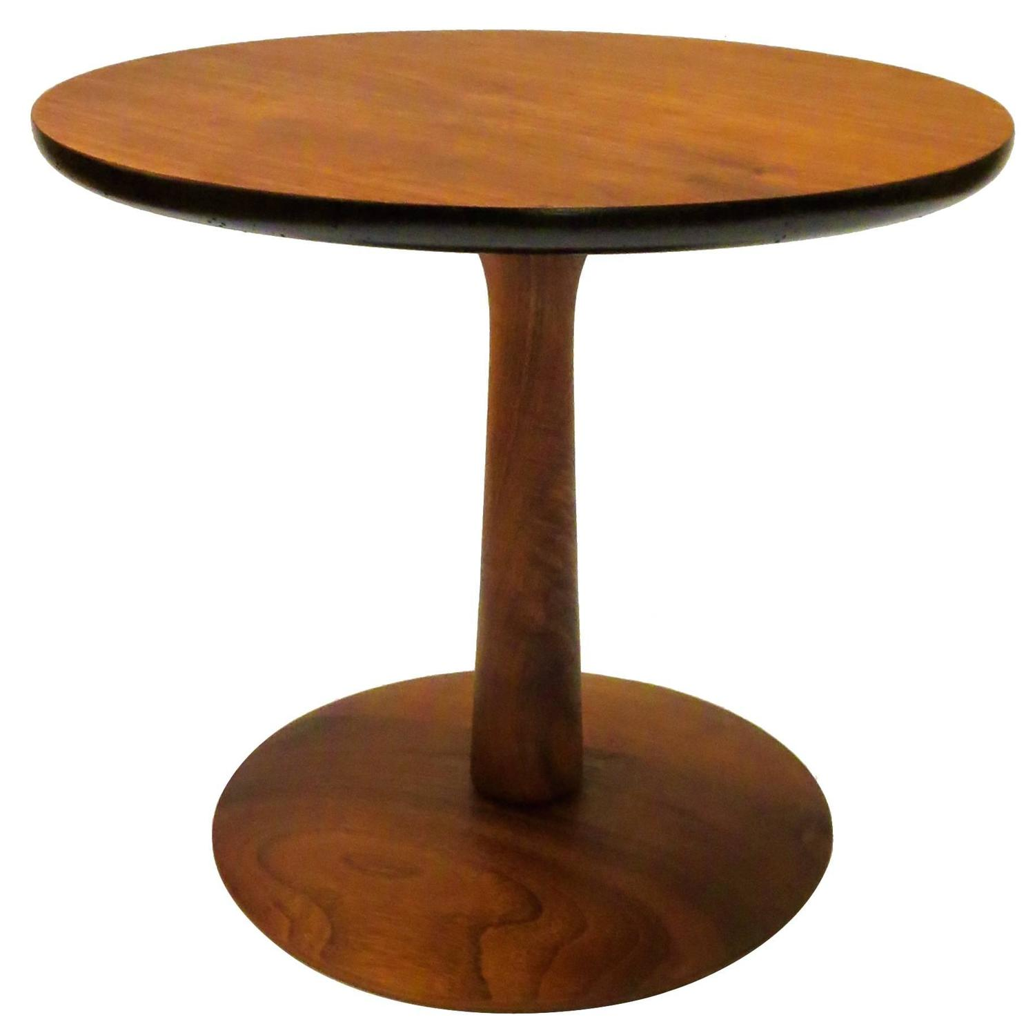 Mid Century Modern American Walnut Small Pedestal Cocktail Table At 1stdibs