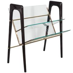 Magazine Stand in Ebonized Walnut, Brass and Glass, in the Manner of Ico Parisi