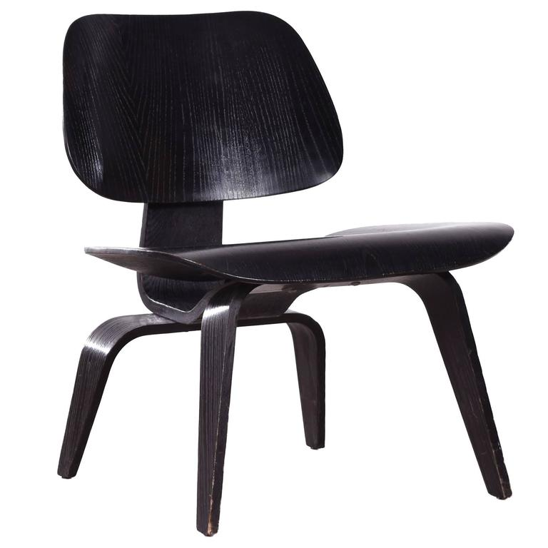 eames lcw black stained ash lounge chair for herman miller. Black Bedroom Furniture Sets. Home Design Ideas