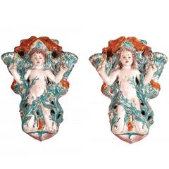 "Elegant Pair of Glazed Polychrome Terracotta Sconces ""Child Birds"", 1946"
