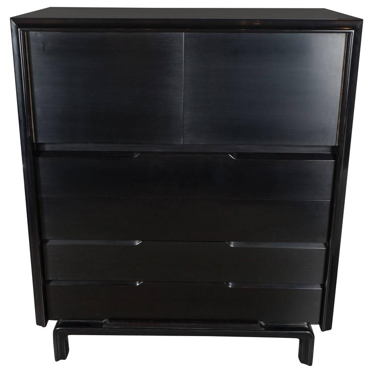 Mid-Century High Chest in Hand-Rubbed Ebonized Walnut by Edmund Spence For Sale