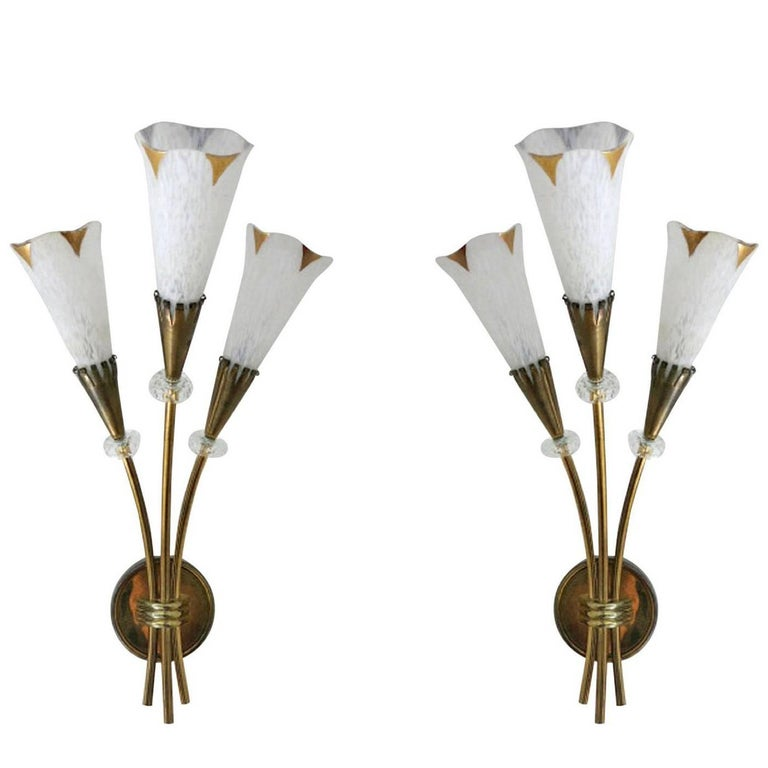 Pair of Italian Calla Sconces in the style of Arredoluce