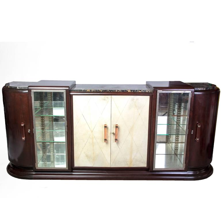 Colossal French Art Deco Buffet or Sideboard with Parchment Covered Doors