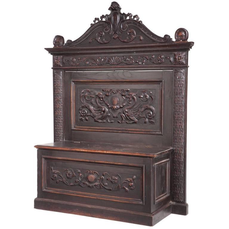 Italian Renaissance Revival Carved Oak Cassapanca Bench, 19th Century