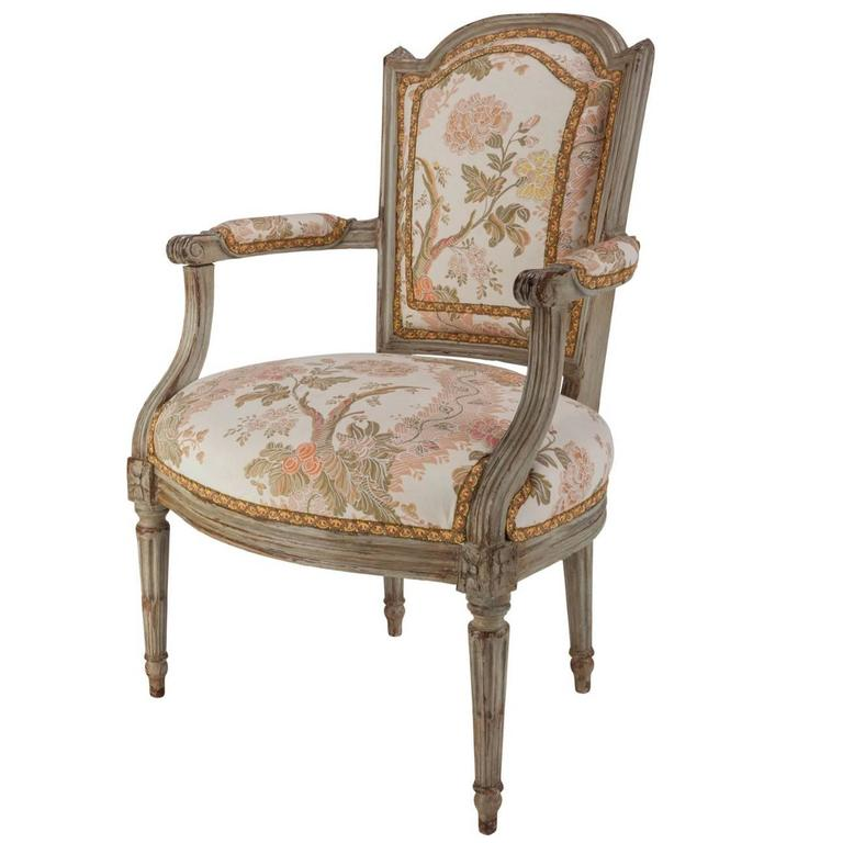 french louis xvi walnut upholstered armchair fauteuil late 18th century for sale at 1stdibs. Black Bedroom Furniture Sets. Home Design Ideas