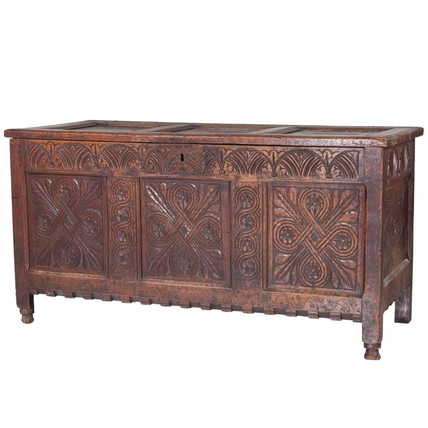 17th Century Jacobean Carved Oak Blanket Chest Coffer For At 1stdibs