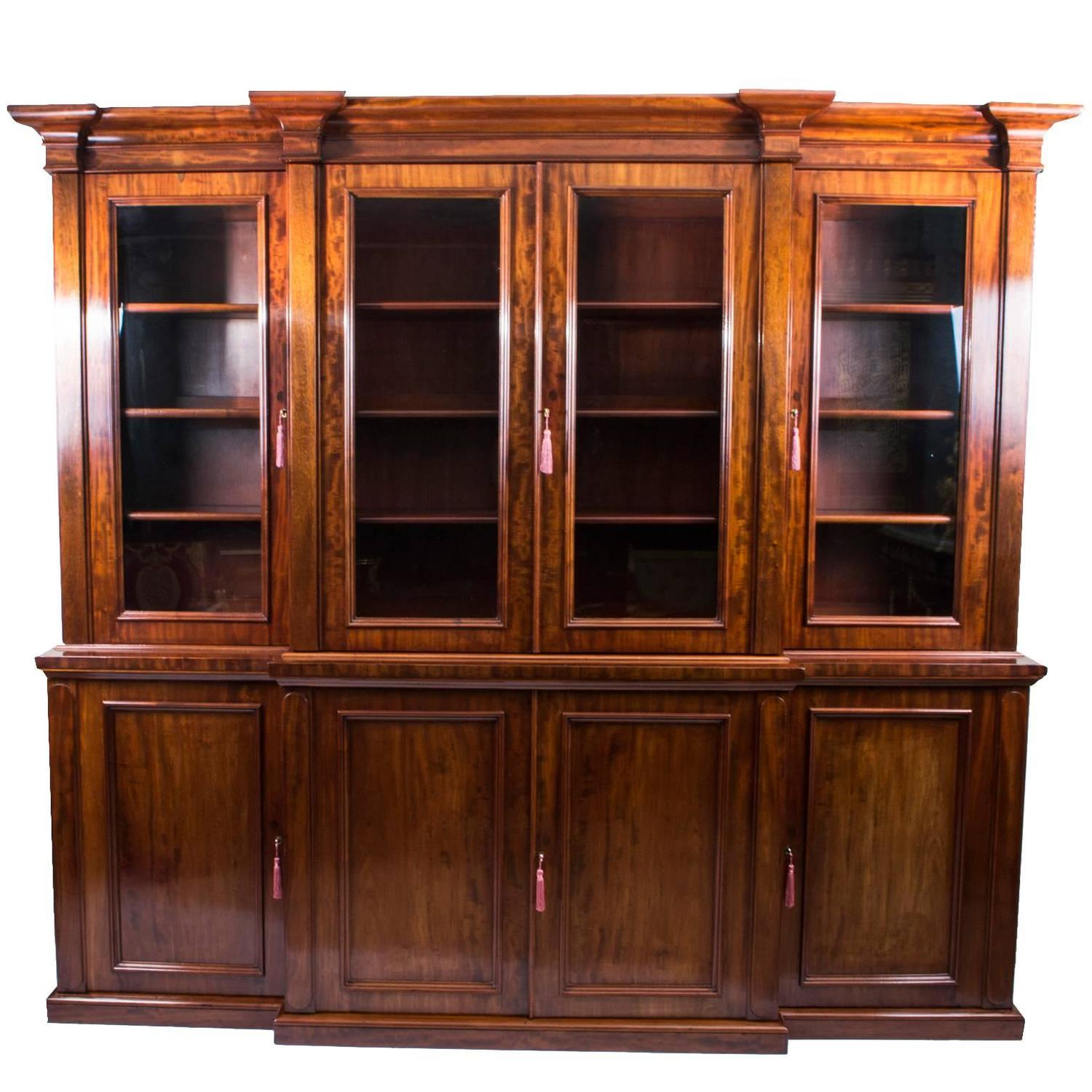 Antique Victorian Flame Mahogany Bookcase circa 1850 at 1stdibs