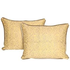 Pair of Vintage Fortuny Fabric Cushions in the Granada Pattern