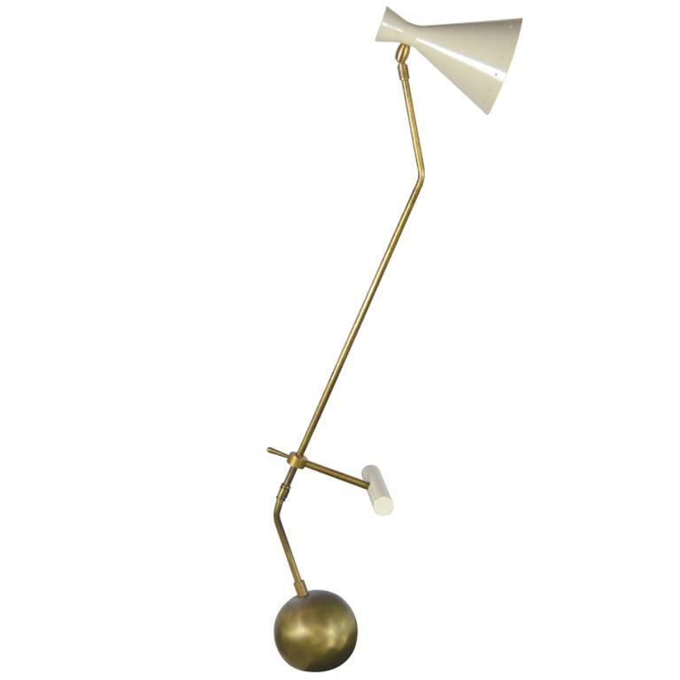 Italian Counter Weight Brass Table Lamp Attributed to Roberto Menghi