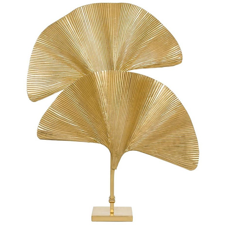 Ginko Biloba Table Lamp in Polished Brass For Sale