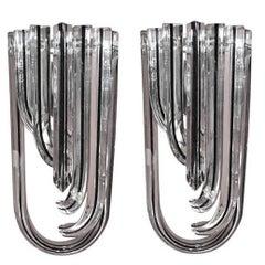 Italian Murano Curve Glass Sconces by Venini