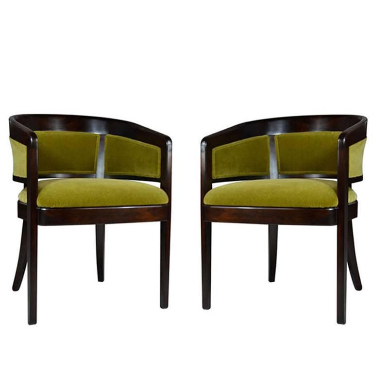 Pair Of Armchairs By Edward Wormley In Mohair For Sale At