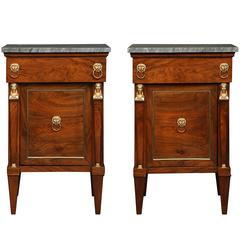 French Early 19th Century Empire Style Solid Walnut and Ormolu Side Tables