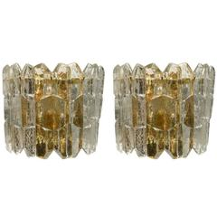 Kalmar Chiseled Ice Glass Sconces