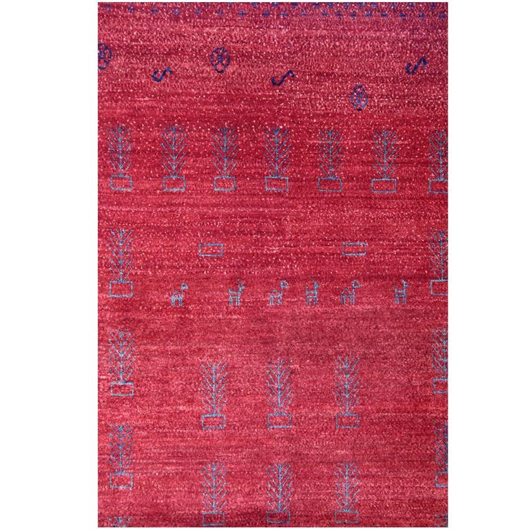 Small Patterned Rug, Gabbeh Rugs, Contemporary Persian Red Carpet