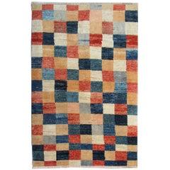 Handmade Rug Fine Contemporary Rugs, Modern Carpet, Plaid Design Afghan Rugs