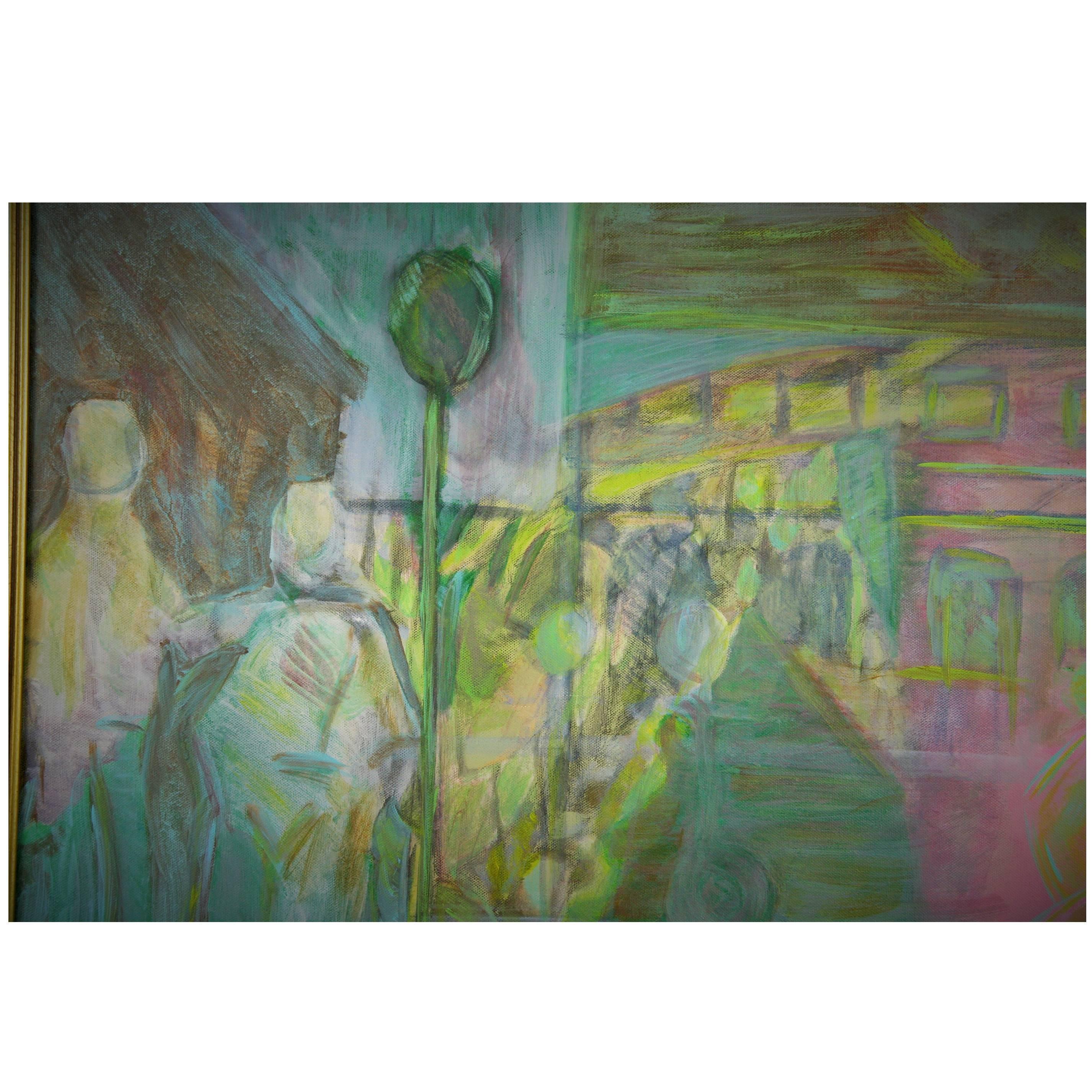 Mid CenturyAbstract Cityscape  Painting