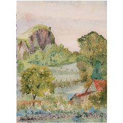 Impressionist Watercolor Painting-, French Landscape