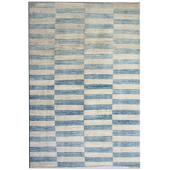 Modern Rugs Blue Fine Contemporary Rugs Striped Carpet from Afghanistan
