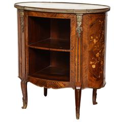 A Louis XV-XVI Transitional Crossbanded and Marquetry Bedside Table