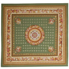 Square Modern Aubusson Green Carpet, not Needle Point