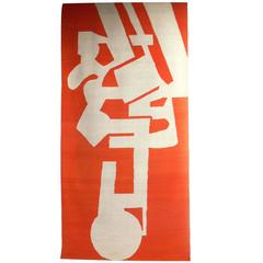 Large-Scale Modernist Tapestry in Vibrant Orange and White