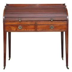 19th Century Regency Mahogany Roll Top Writing Desk