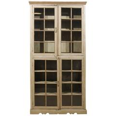 Tall Painted Glass Door Cabinet, Mid-20th Century
