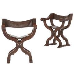 Pair of Renaissance Revival Walnut Savonarola Folding Chairs, circa 1880