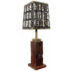 Torch Cut Brutalist Table Lamp with Nakashima Style Wood Base