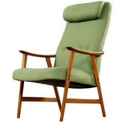 Norwegian Modern Reupholstered Green Dokka Mobler Lounge Chair, circa 1950's
