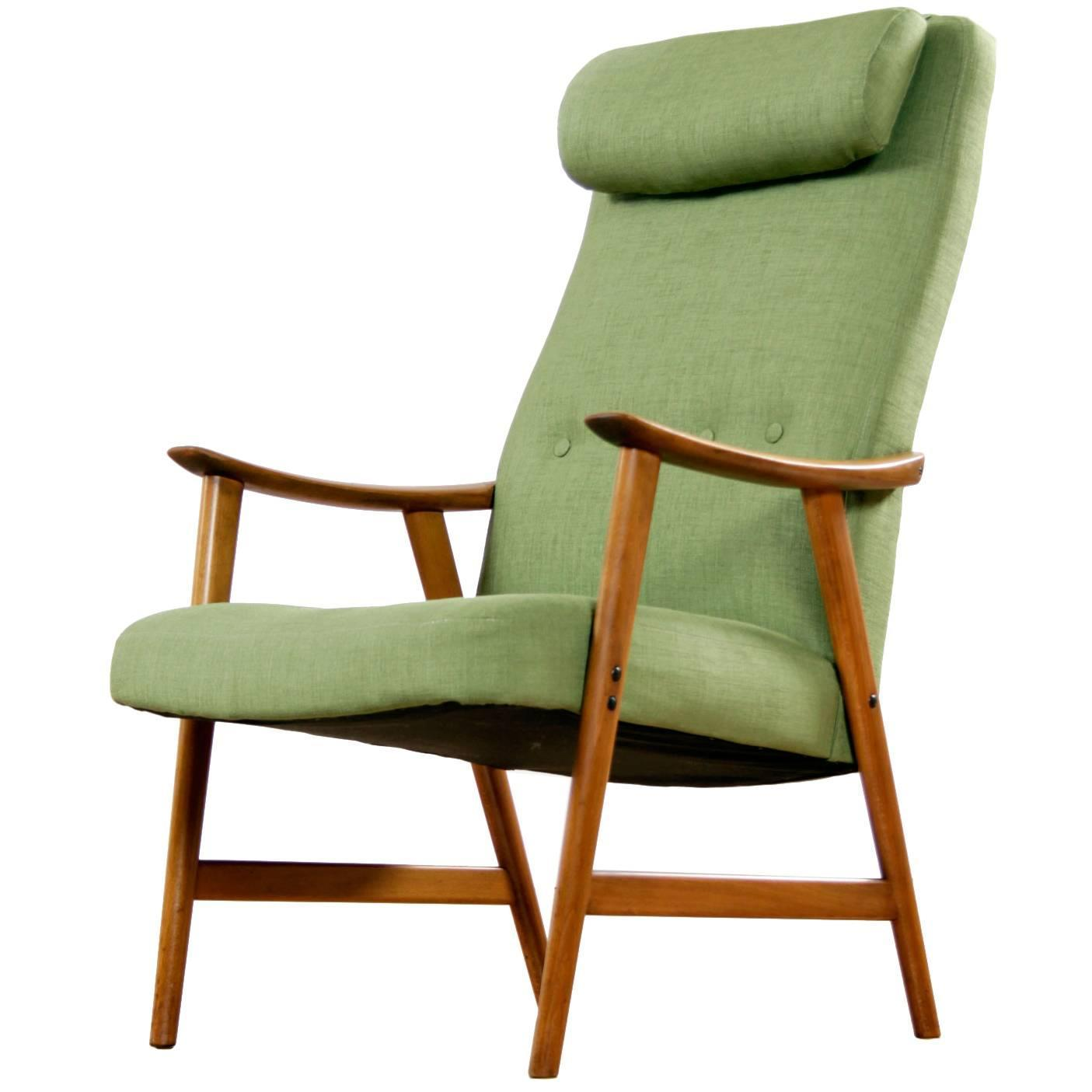 Norwegian Modern Reupholstered Green Dokka Mobler Lounge Chair, Circa 1950u0027s
