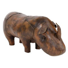Hand-Stitched Leather Rhino Footstool by Sarreid