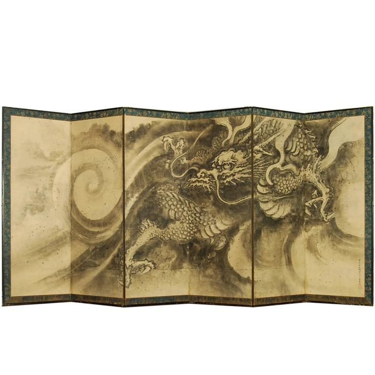 Antique Japanese Dragon Screen Attributed to Kano Tanyu, circa 17th Century