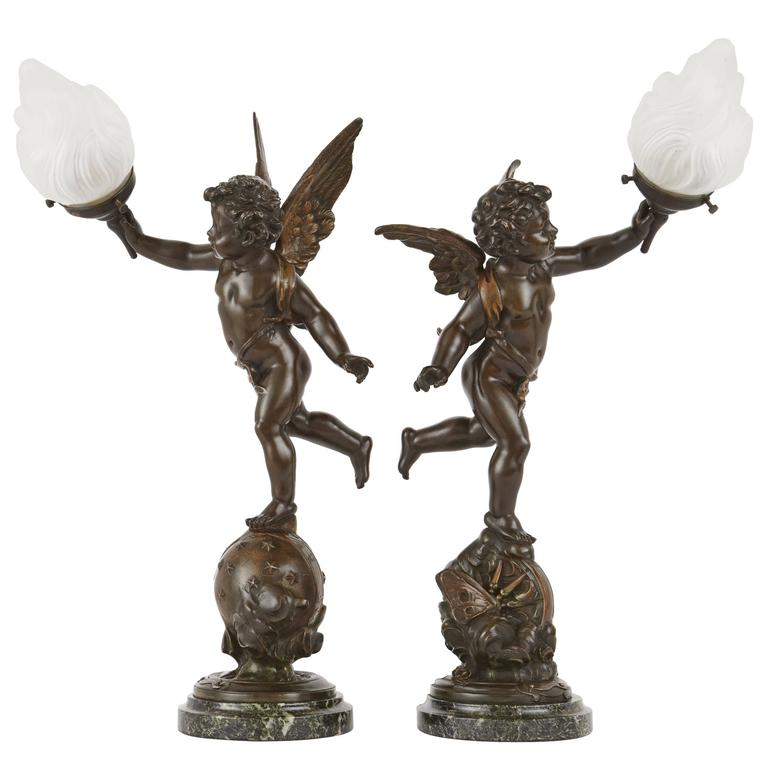 Pair Of French Antique Bronze Table Lamps With Cherubs For