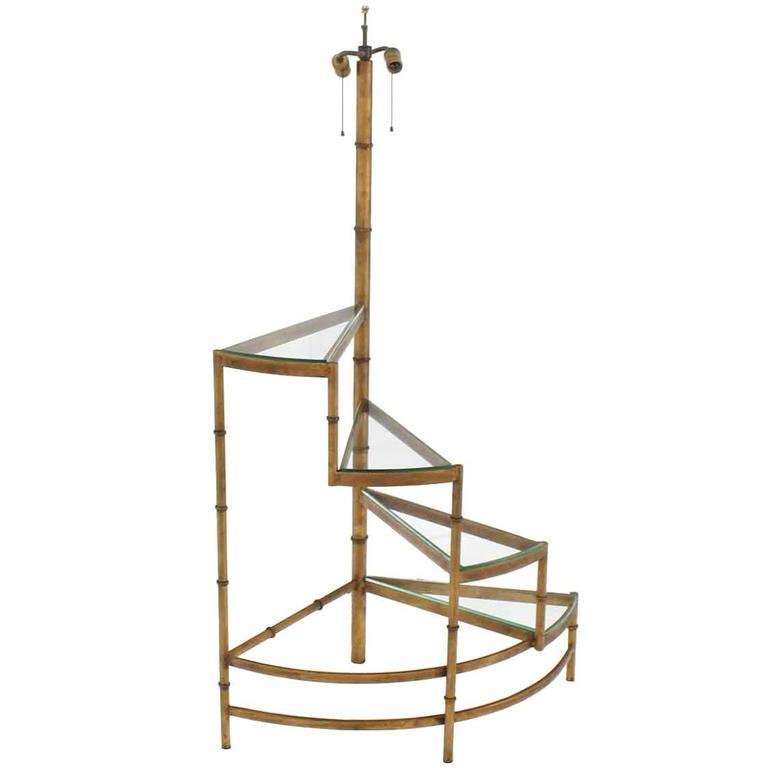 Step Shelves Faux Bamboo Gilt Base Floor Lamp