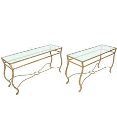 Pair of Ornate Gold Finish Console Tables