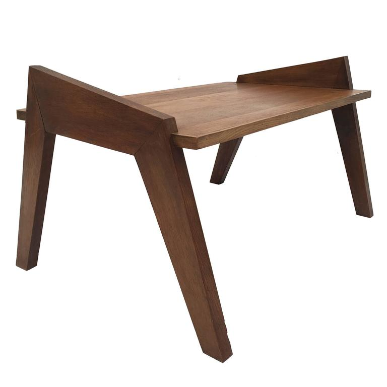 French Style Oak Coffee Table: Rene Gabriel Trapezoid Table For Sale At 1stdibs